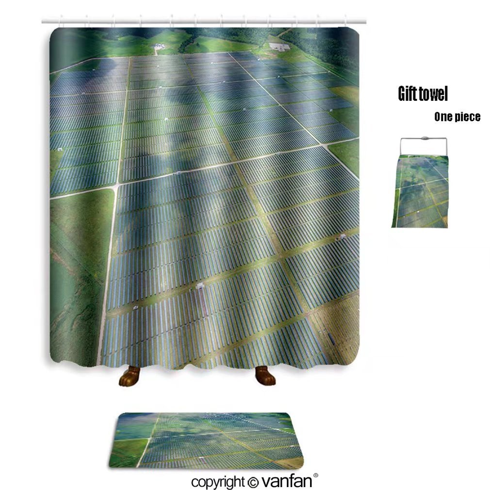 vanfan bath sets Polyester rugs shower curtain aerial view over solar panel farm outside shower curtains sets bathroom 72 x 72 inches&31.5 x 19.7 inches(Free 1 towel 12 hooks)