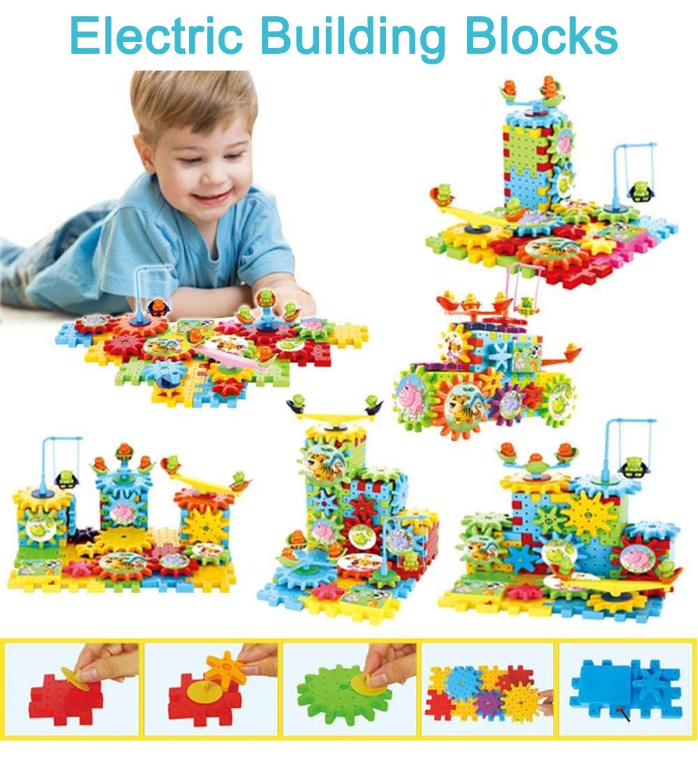 Orland Gears Building Set,Rotating Gear Electric Building Blocks Set Construction Set Motorized Spinning Wheels with Multiple Variations - 81 pc 3D Educational Learning Toy Gift for Kids (Multicolor)