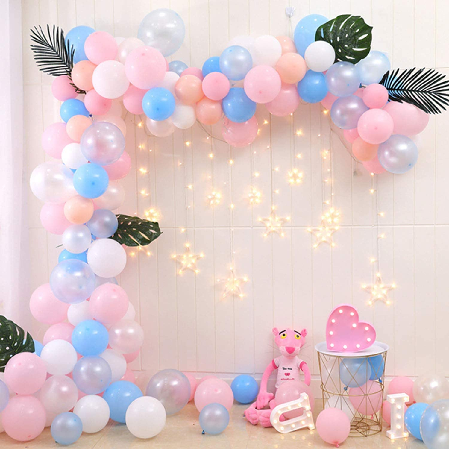 Amazon Com Kwayi Balloon Garland Arch Blue And Pink Themed 16ft Long 110pcs Assorted Balloons For Baby Shower Gender Reveal Party Centerpiece Backdrop Background Decoration Toys Games