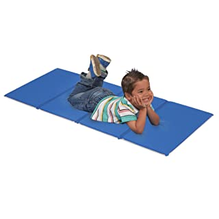 """ECR4Kids Value 4-Fold Daycare Rest Mat, Folding Rest Mat, Sanitary Design, Low Maintenance, Certified and Safe, No Assembly Required, 5/8"""" Thick, Single Mat, Blue and Grey"""