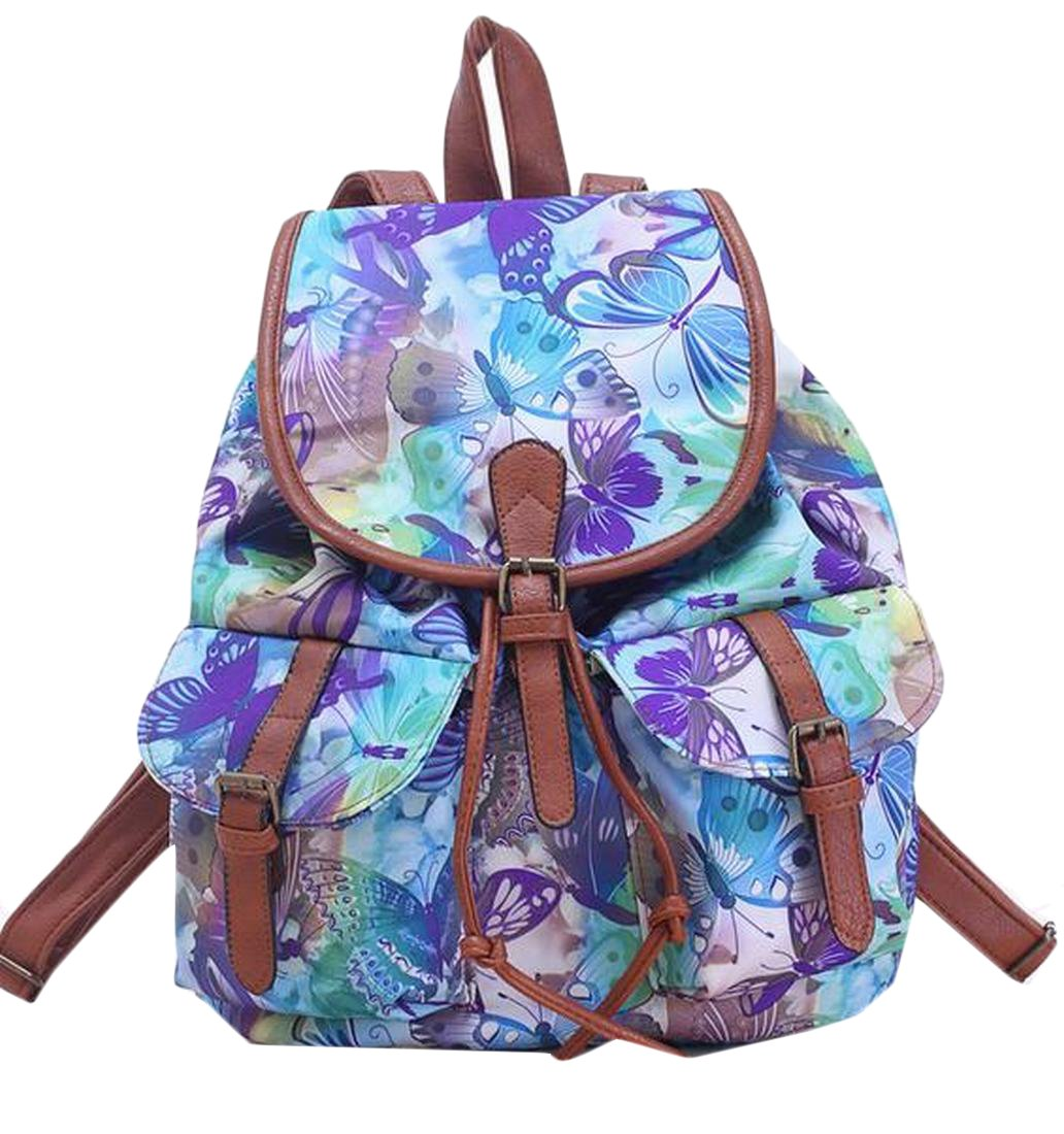 MLG Women & Girls Canvas Backpack Casual Book Bag Knapsack Flower OS