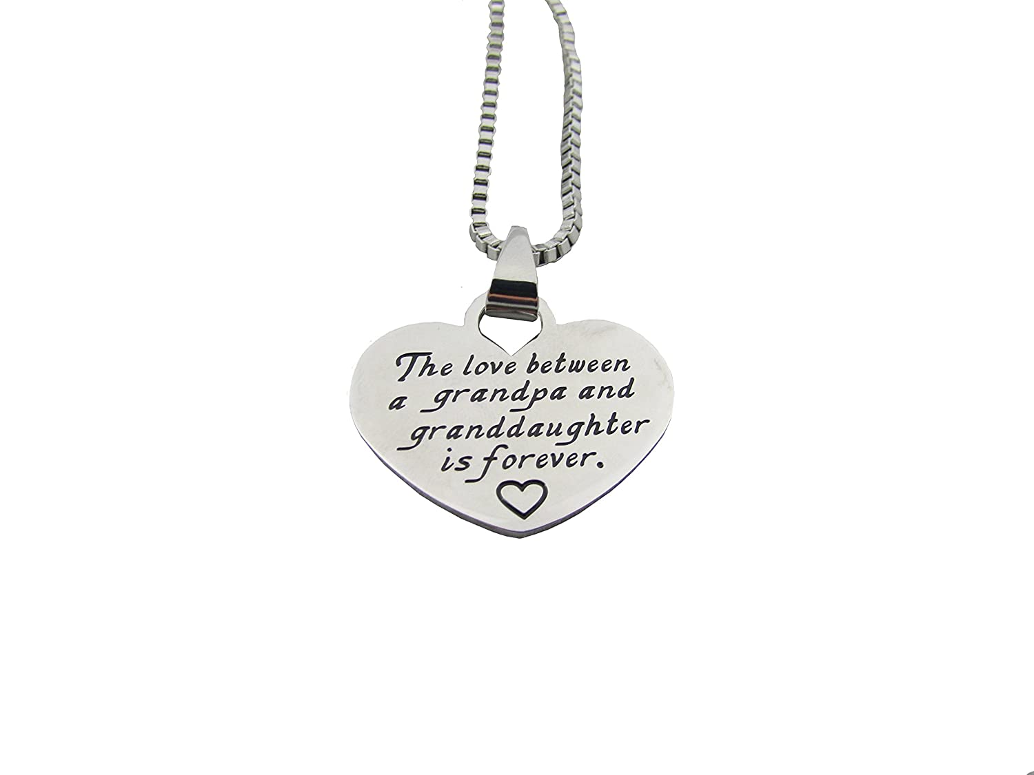'The Love Between a Grandpa and Granddaughter...' Heart Pendant Necklace