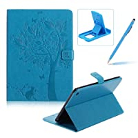 Flip Case for iPad Mini 4,Smart Leather Cover for iPad Mini 4,Herzzer Retro Pretty Tree Butterfly Cat Design Wallet Folio Case Full Body PU Leather Protective Stand Cover with Inner Soft Silicone Shell for iPad Mini 4 + 1 x Free Black Cellphone Kickstand + 1 x Free Black Stylus Pen