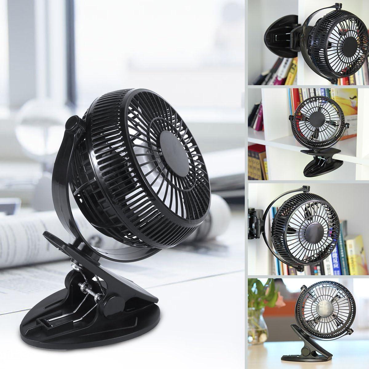 Mini Ventilador USB de 5 Pulgadas WEINAS® 360 Grados de Rotación Mini Ventilador de Mesa Ajustable y Portátil para Oficina/ Cama/ Dormitorio/ Escritorio- Negro
