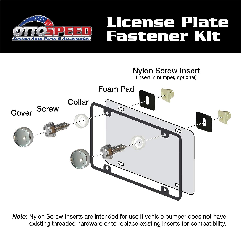 Chrome License Plate Screws Fastener Kit Chrome Screw Covers /& Anti-Rattle Foam Pads for Fastening License Plates /& Frames Stainless Steel Screws Chrome Stainless Steel Nylon Screw Inserts