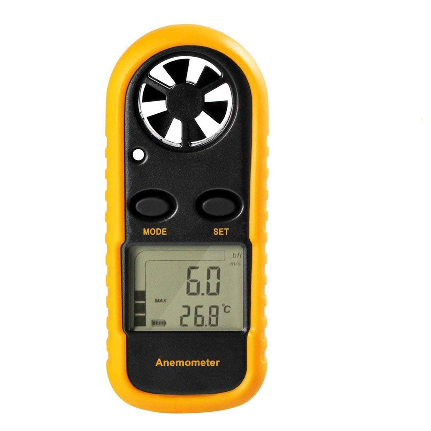GM816 Digital Handheld Anemomete, Pocket Digital Anemometer with LCD Display for Measuring Wind Speed, Temperature and Wind Chill (Yellow)