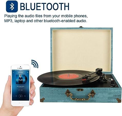 Tocadiscos Bluetooth con Estéreo Altavoces, Tocadiscos de Vinilo ...
