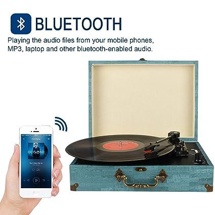 Tocadiscos Bluetooth con Estéreo Altavoces, Tocadiscos de ...