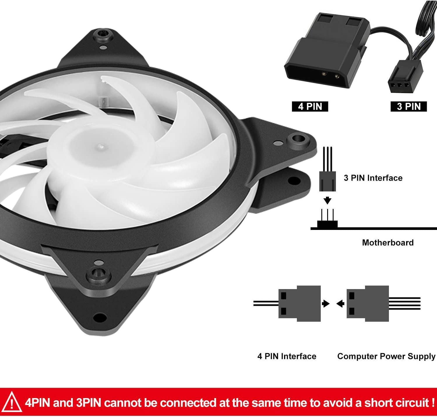 upHere Halo Ring Led 140mm case Fan 5 Pack Hydraulic Bearing Quiet Cooling case Fan for Computer Mirage Color LED Fan 3 pin with Anti Vibration Rubber PadsGreen//14CMG3-5