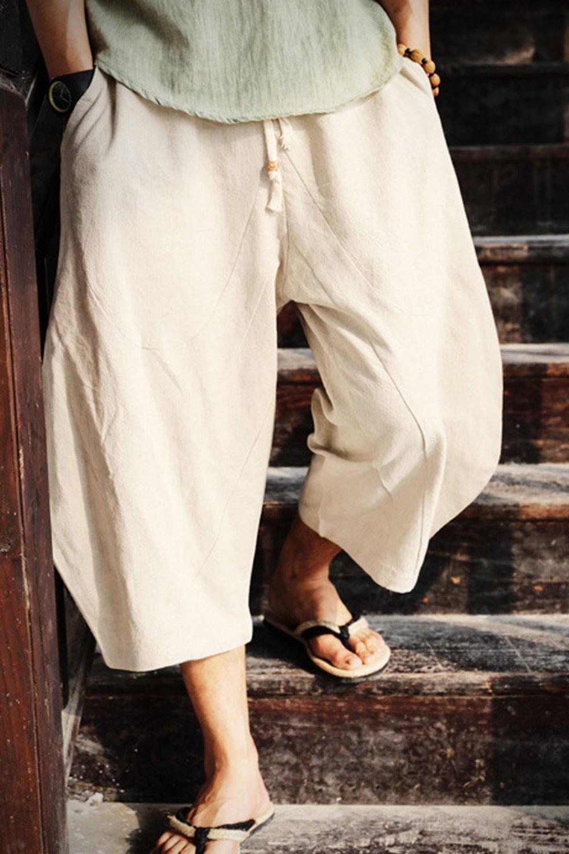 Aishang Men's Patchwork Shorts Elastic Waist Linen Loose Pocket Capris Joggers Harem Pants by Aishang (Image #2)