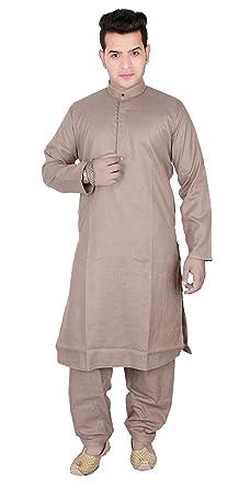 ad4e1f9d7b Mens Indian Plain Cotton Gandhi collar kurta matching Shalwar kameez pajama  1803 (40 (L