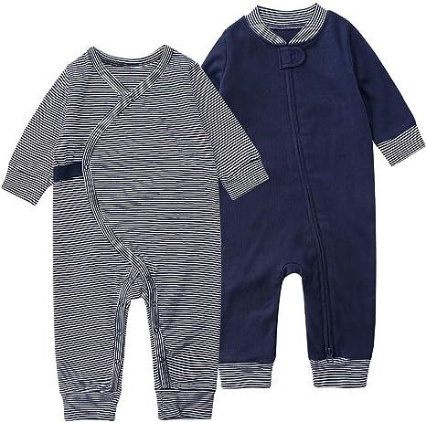 Bebé Pijama Pelele NiñOs NiñA Manga Larga Ropa de Dormir Unisex AlgodóN Mono 2 Paquetes Azul 6-9 Meses: Amazon.es: Bebé