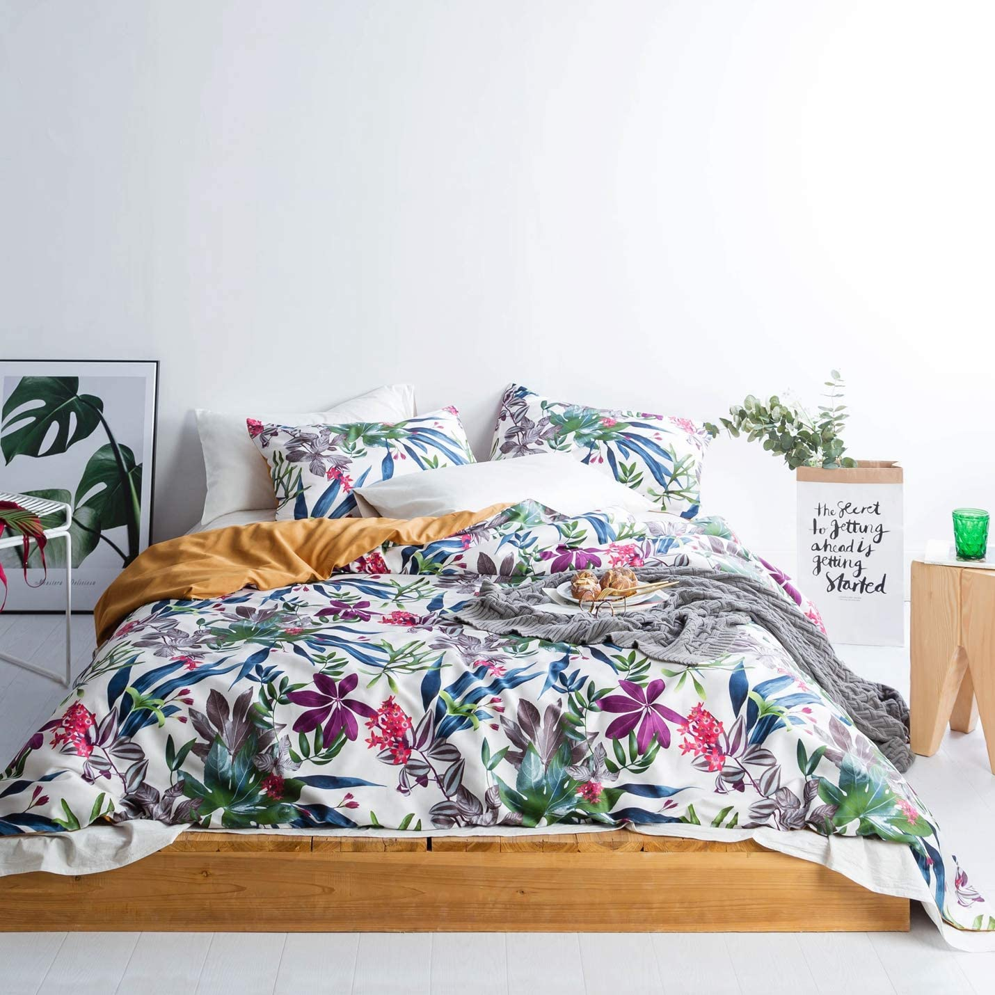 SUSYBAO 3 Pieces Duvet Cover Set 100% Egyptian Cotton Sateen Queen Size Tropical Floral Print Bedding with Zipper Ties 1 Reversible Duvet Cover 2 Pillowcases Luxury Quality Silky Soft Breathable