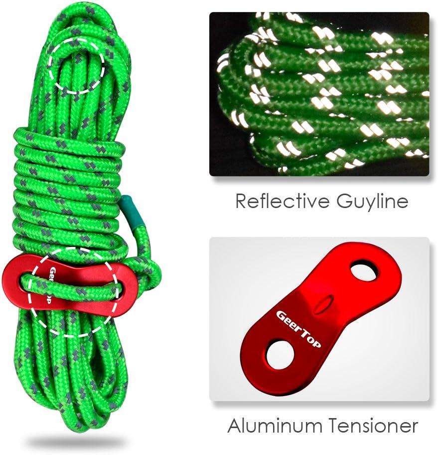 4 M x 6 Geertop Corde de Tente R/éfl/échissante Nylon Solide avec Ajusteur en Aluminium Accessoire pour Camping Randonn/ée B/âche