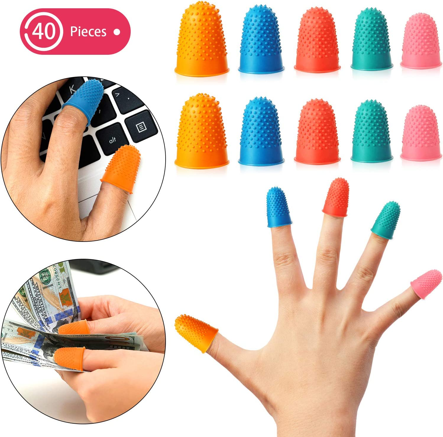 40 Pieces Rubber Fingers Pads Tip Grips for Money Counting Collating Writing Sorting Task Hot Glue and Sport Games Thick Reusable Protector Assorted Sizes Blue Orange Green Red Pink