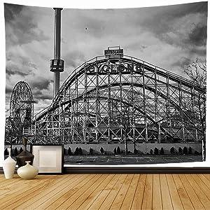 Starosac Tapestry Wall Hanging Coney New York Dec 28 Cyclone Amusement Island Parks Vintage Rollercoaster Coaster Roller People Wall Tapestry for Living Room Dorm 60x60 Inch