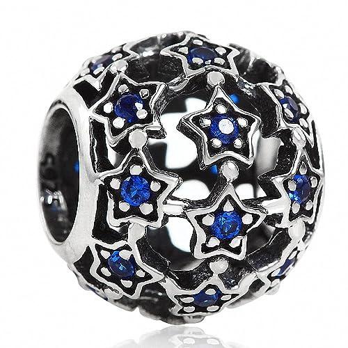 4b34ae5b5 Amazon.com: Hoobeads Starry Night Crystal Charms 925 Sterling Silver Star  with Zircon Stone Bead Charm (Blue Crystal): Jewelry