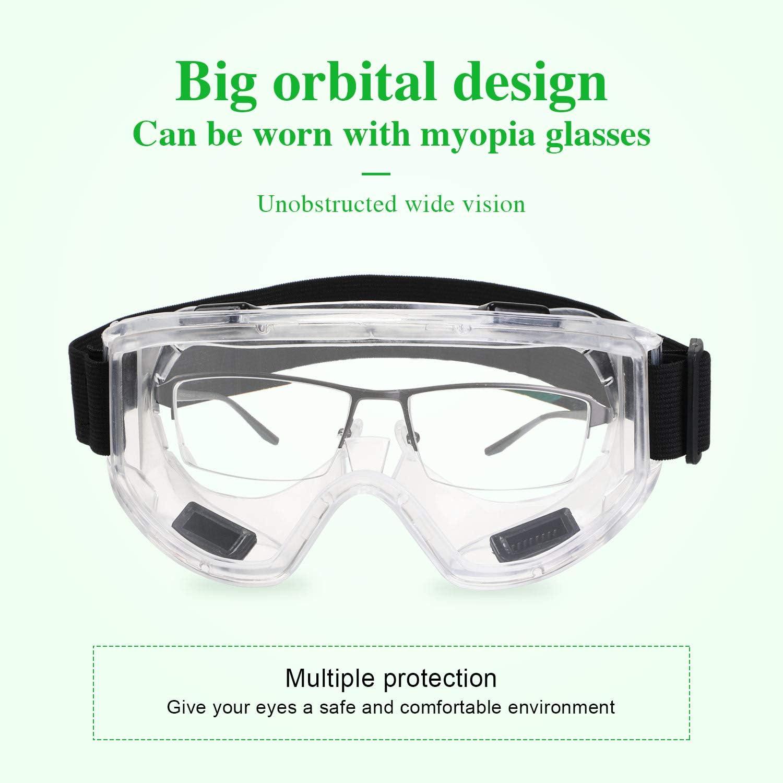 ENJOHOS Schutzbrille Winddicht UV-Schutz Vollsichtbrille,EN166 /Überbrille,Schleifbrille mit Verstellbarem Kopfband f/ür Fahrrdfahren Baustelle Labor Outdoor,K/üche