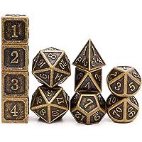 Haxtec Metal DND Dice Set D&D D6 D20 for Dungeons and Dragons TTRPG Games-Antique Bronze 11PCS