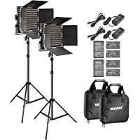 Neewer 2-Pack Bi-Color LED Video Light and Stand Kit with (4)Battery and (4)Charger-660 LED with U Bracket and Barndoor(3200-5600K),3-6.5 Feet Adjustable Light Stand for Studio,YouTube Shooting