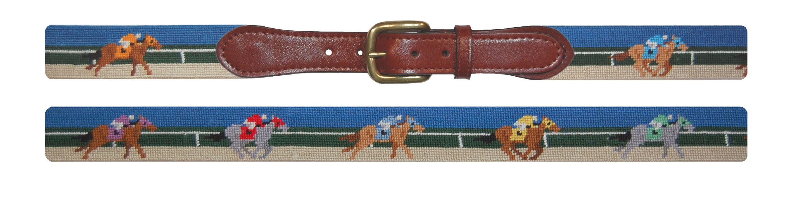 Smathers & Branson Derby Scene Traditional Needlepoint Belt, Size 40 (B-105-40)