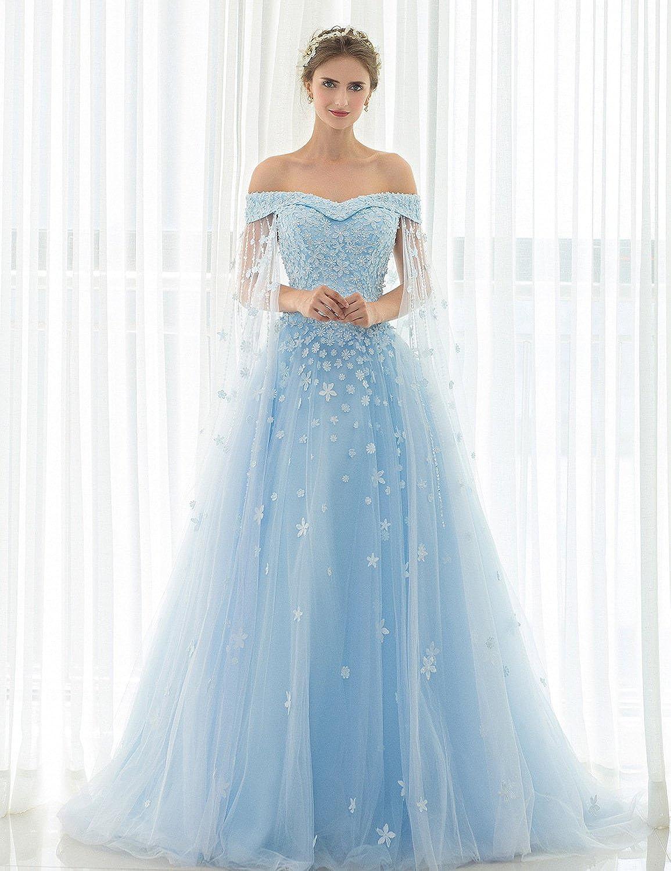 Vimans Womens Long Off Shoulder Beads Lace Wedding Dress For Elegant