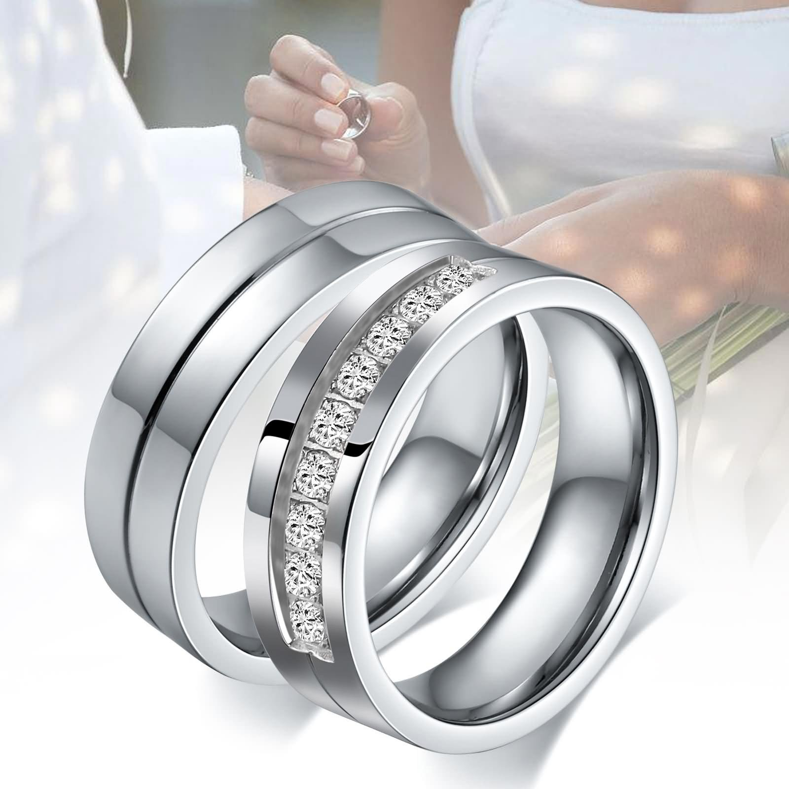 Aeici Stianless Steel Silver ''Forever Love'' Couples Promise Ring Romantic Couples Gift Women Size 9 & 10 by Aeici (Image #6)