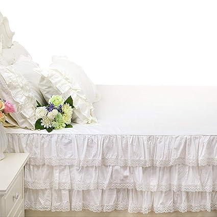 Brandream Luxury White Lace Bed Skirt Romantic Girls Bed Sheets Full Size