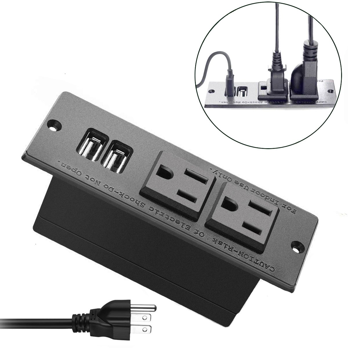 Conference Recessed Power Strip Socket with Surge Protector 9.8ft Desktop Power Cord -2-Outlet with 2 USB Ports(3m cord)