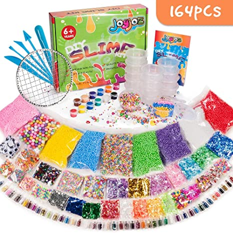 Joyjoz 164 Pcs Slime Kit incluyendo Recipientes, Cuentas de Espuma, Conchas, Cuentas de