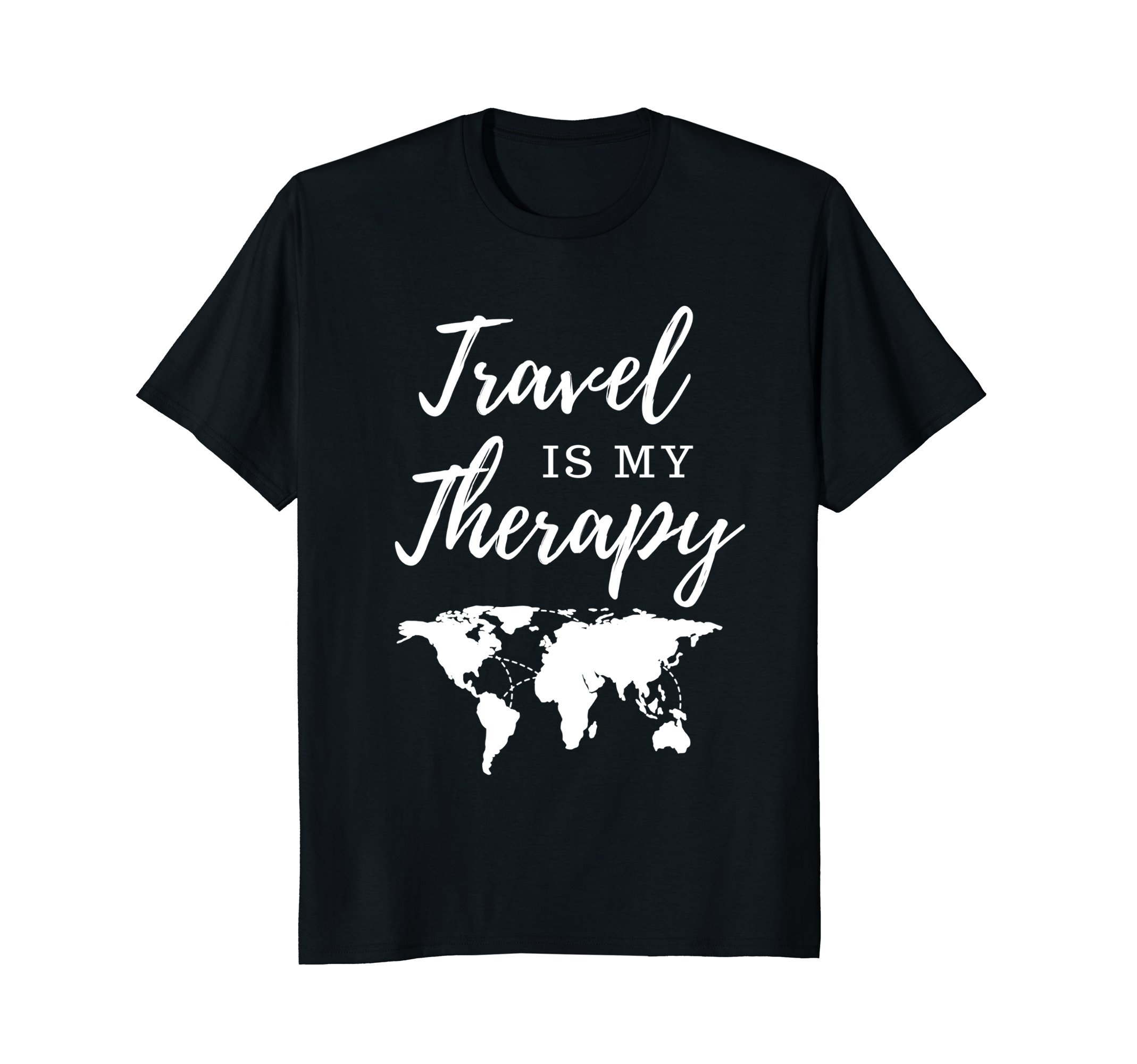 Mens Travel Is My Therapy T-Shirt XL Black