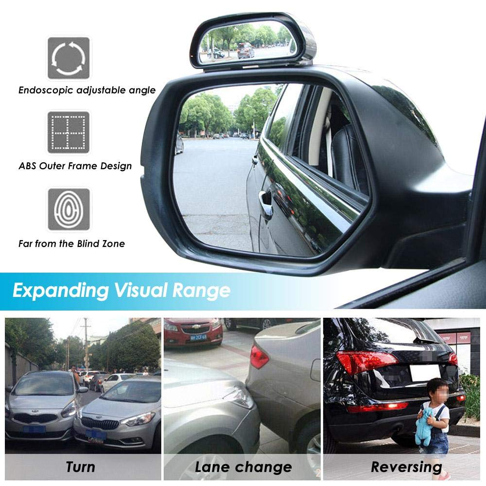 Volwco Car Blind Spot Mirror-Universal 360 Degree Rotation Adjustable Wide Angle Rear View Mirror,HD Glass Convex,Reversing Mirror Into Auxiliary Mirror