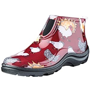 SloggersWomen's Waterproof Rain and Garden Ankle Boots with Comfort Insole, Chickens Barn Red, Size 6, Style 2841CBR06