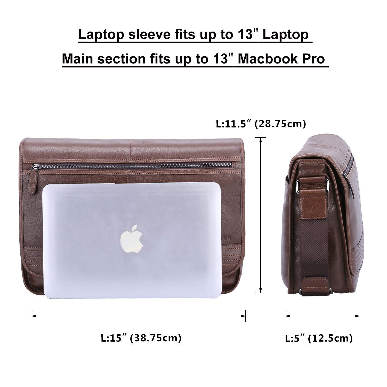 Banuce Vintage Brown Real Leather Messenger Bag for Men Flapover Business Briefcase 14 Laptop Shoulder Bag Crossbody Handbag