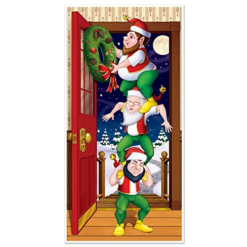 beistle christmas elves door cover 30 inch by 5 feet multicolor - Animated Christmas Elves Decorations
