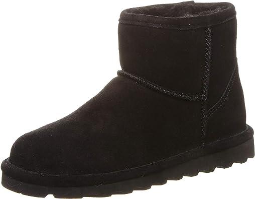 Women/'s Black Sheepskin Boots Bearpaw Black Boots Warm Christmas Gifts Sizes 7