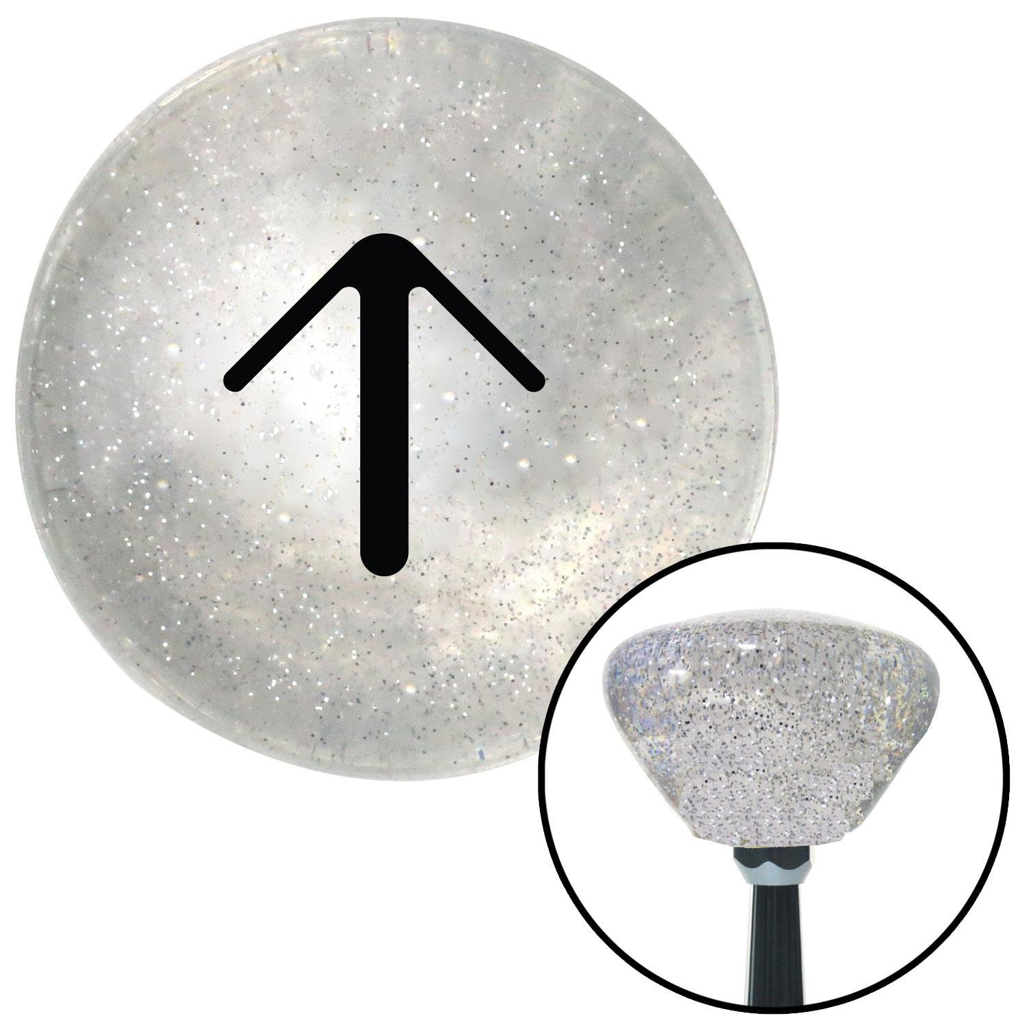 American Shifter 160114 Clear Retro Metal Flake Shift Knob with M16 x 1.5 Insert Black Solid Pointing Arrow Up