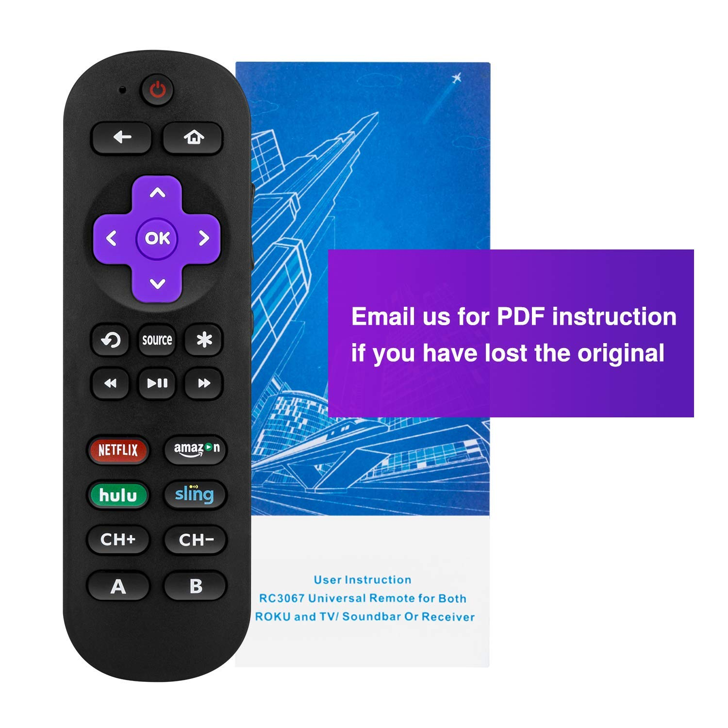 Universal Remote Control for Roku Player with 9 More Learning Keys to Control TV Soundbar Receiver All in One (Fit for Roku 1 2 3 4 Premier+ Express Ultra)【NOT for ROKU Stick & Built-in ROKU TV】 by Hztprm