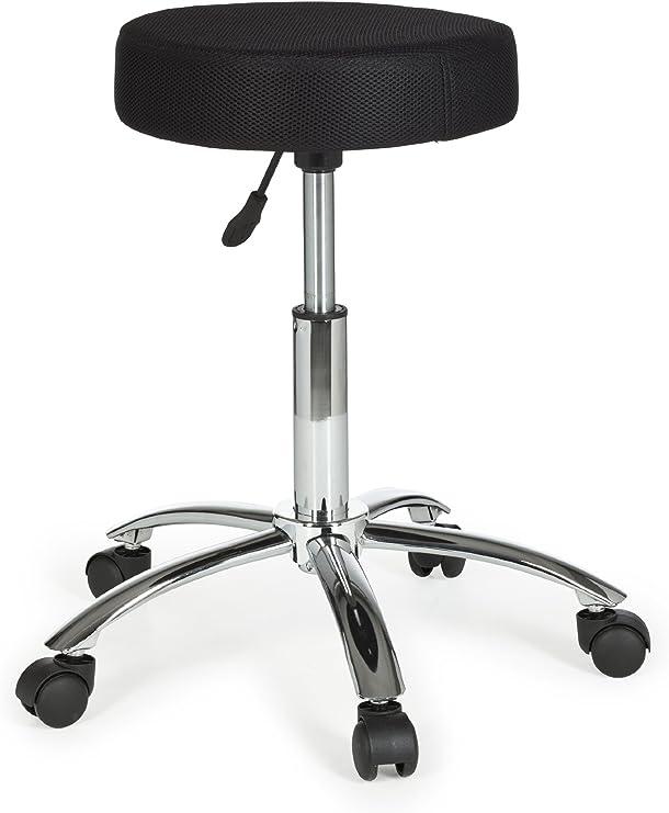 AMSTYLE, Hocker, LEON, Design Arbeitshocker verstellbar Bezug Stoff Mesh Schwarz Sitzhocker Teppichbodenrollen Rollhocker gepolstert