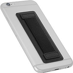 StilGut - Supporto dita per Smartphone in vera pelle con elastico, grande, Nero
