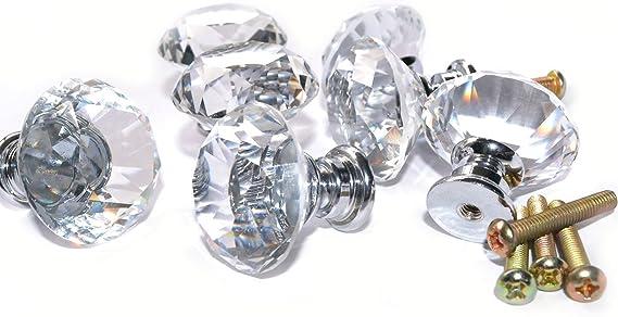 VIPMOON Lot de 10 boutons de porte ronds en nickel bross/é avec vis 30 mm