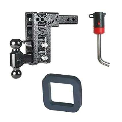 GEN-Y Hitch GH-524 Class V 2 Receiver 7.5 Drop Hitch 16K Towing w// 2 Silencer Pad /& 5//8 Receiver Lock Bundle for Ford Standard Cut Keys