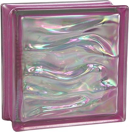 6 pi/èces BM briques de verre AQUA nacre rose 19x19x8 cm