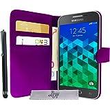 Etui Housse Luxe Violet Portefeuille Samsung Galaxy Core Prime SM-G360 \ Core Prime VE Value Edition SM-G361 + STYLET et 3 FILM OFFERT!!