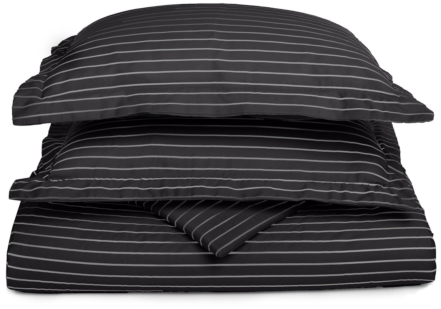 Wrinkle Resistant Bahama Striped 3-Piece King//California King Duvet Cover Set Cotton Blend 600 thread Count Soft Black with White Stripes Superior CR600KCDC BAST-BK