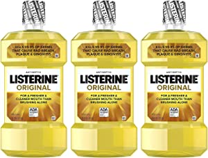 Listerine Original Oral Care Antiseptic Mouthwash with Germ-Killing Formula to Fight Bad Breath, Plaque and Gingivitis, 1 L (Pack of 3)