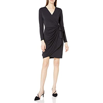 Brand - Lark & Ro Women's Classic Long Sleeve Wrap Dress: Clothing