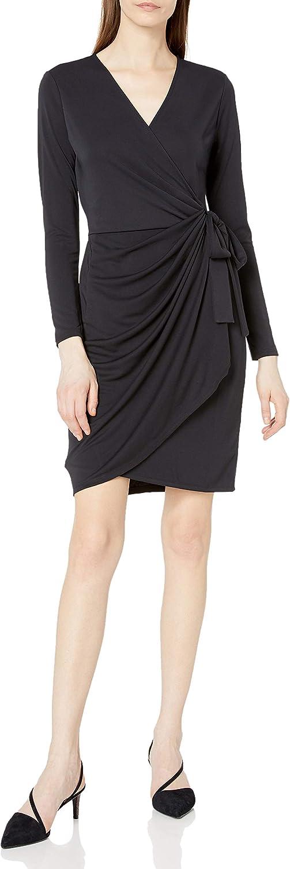 Amazon Brand - Lark & Ro Women's Classic Long Sleeve V-Neck Compact Matte Jersey Wrap Dress