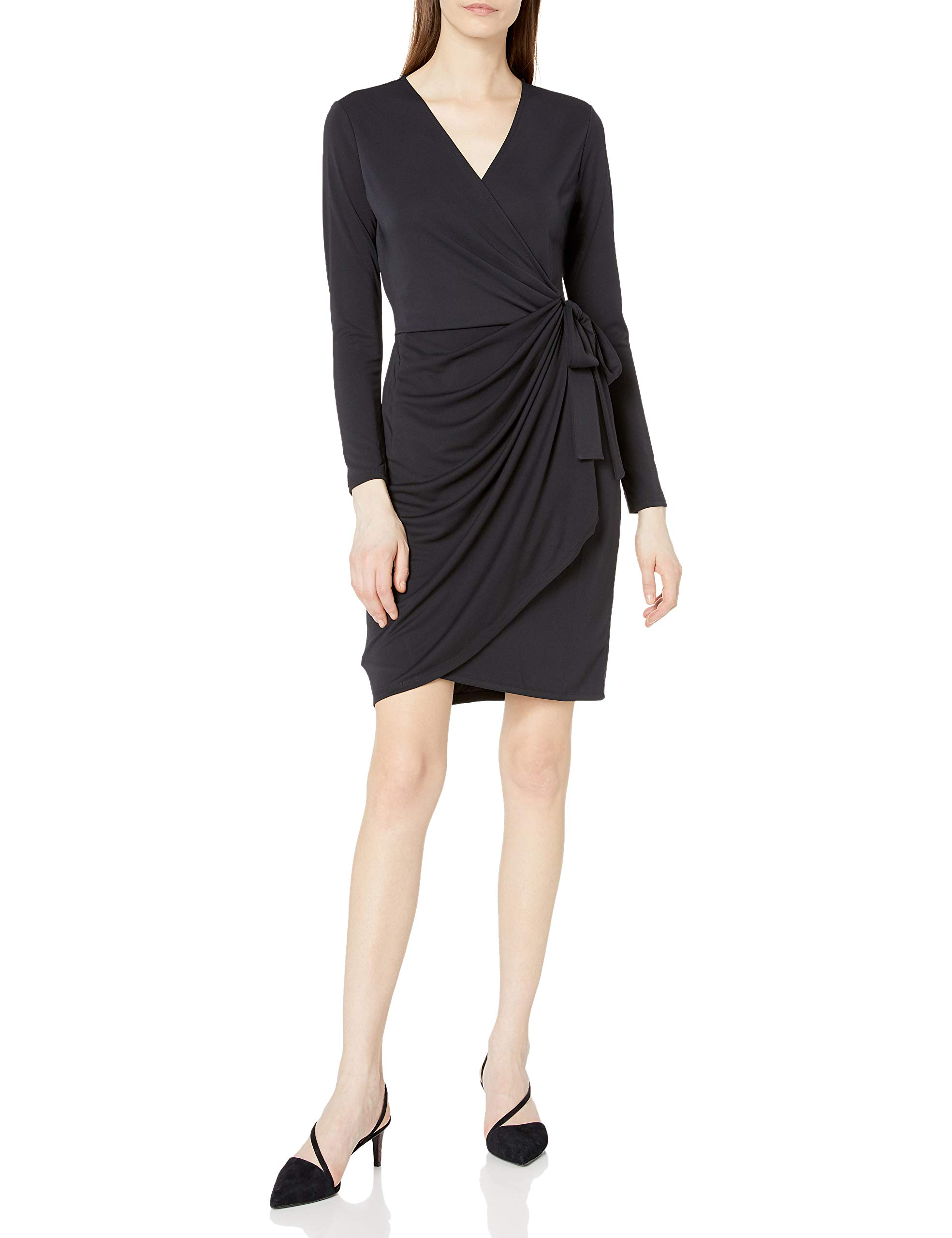 Amazon Brand - Lark & Ro Women's Classic Long Sleeve V-Neck Compact Matte Jersey Wrap Dress