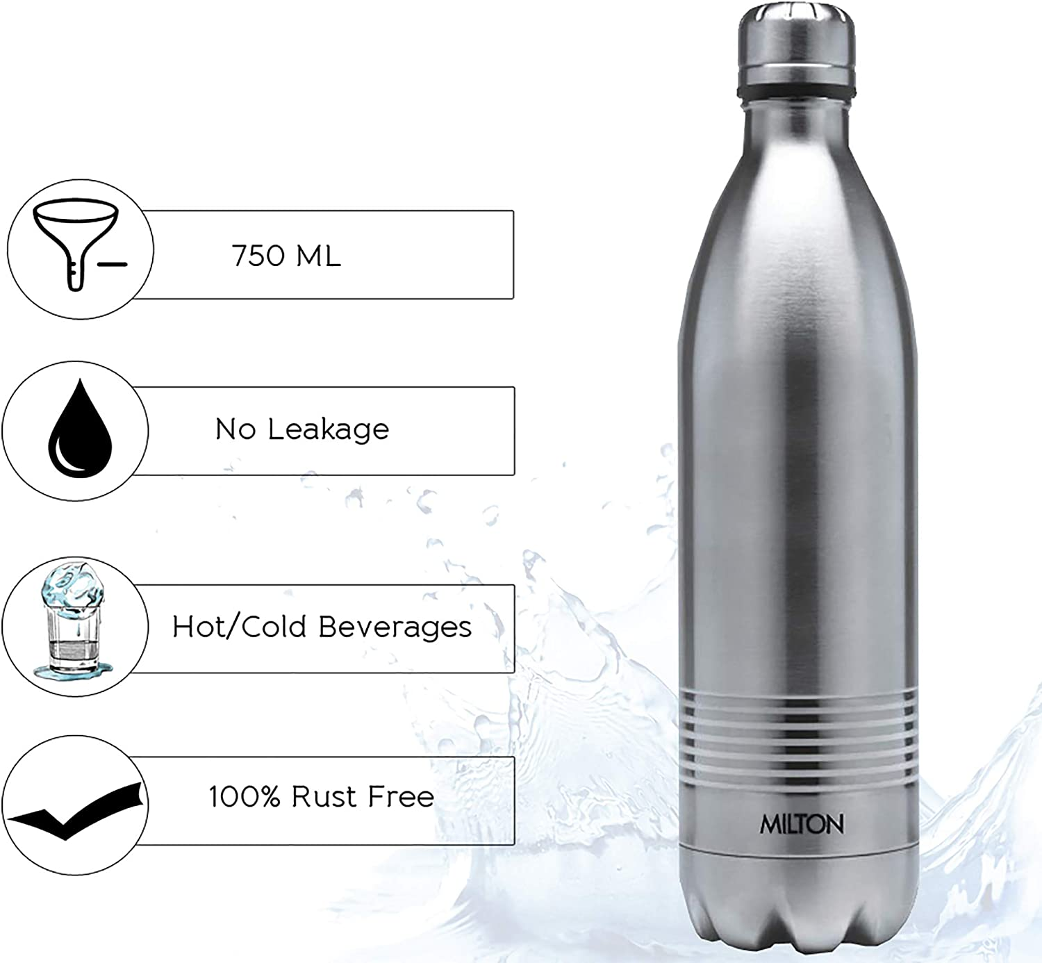 Multicolor, 700ML Milton Thermosteel Duo Deluxe Stainless Steel Water Bottle